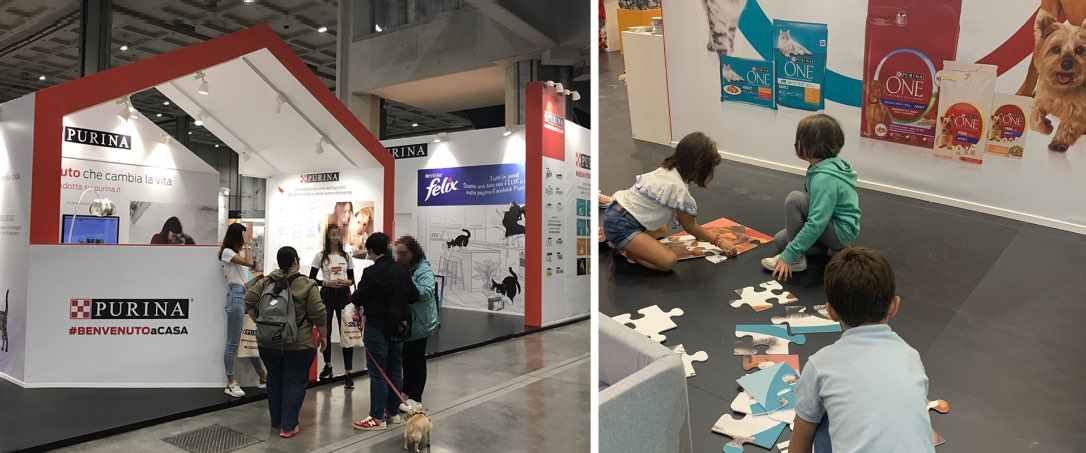 grafica dello stand Purina a Pets in the City