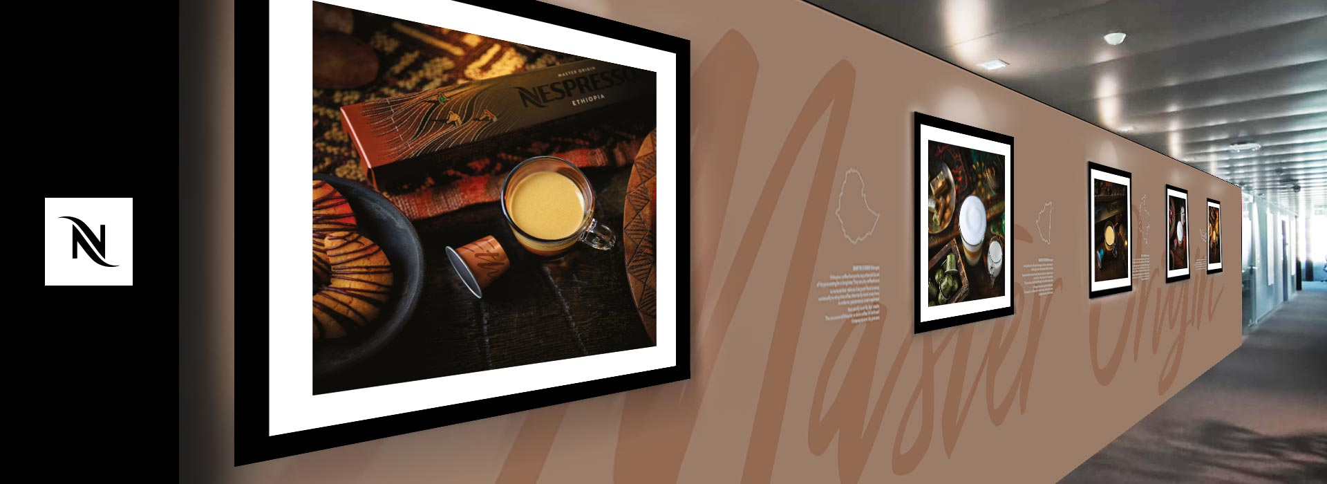 Collezione fotografica design parete uffici Nespresso a Vevey