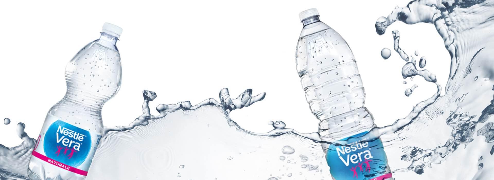 repackaging etichette bottiglie acqua Nestlé Vera