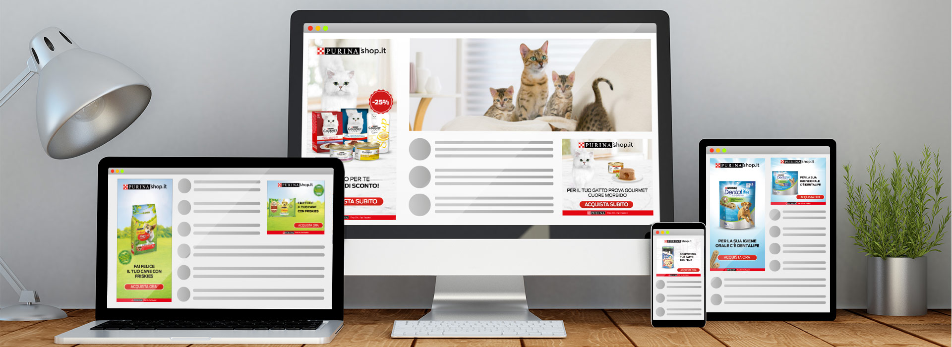 annunci dinamici rete display per ecommerce Purinashop
