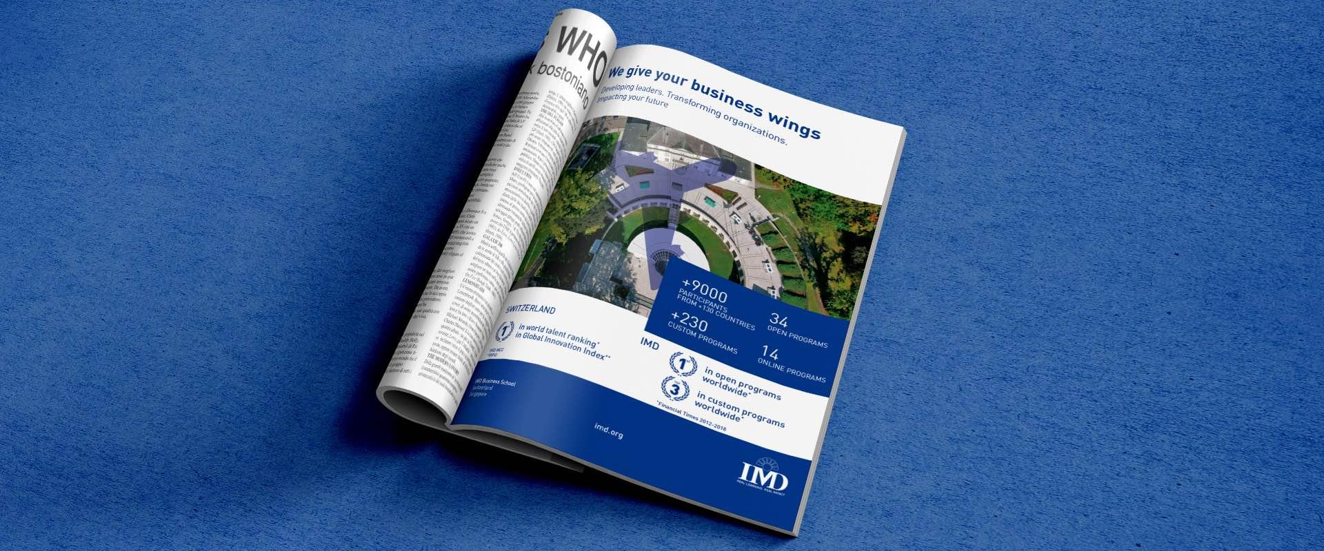 campagna pubblicitaria IMD sul magazine di Brussels Airlines