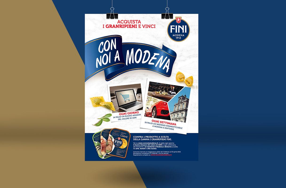 poster below the line campagna concorso Fini con noi a Modena