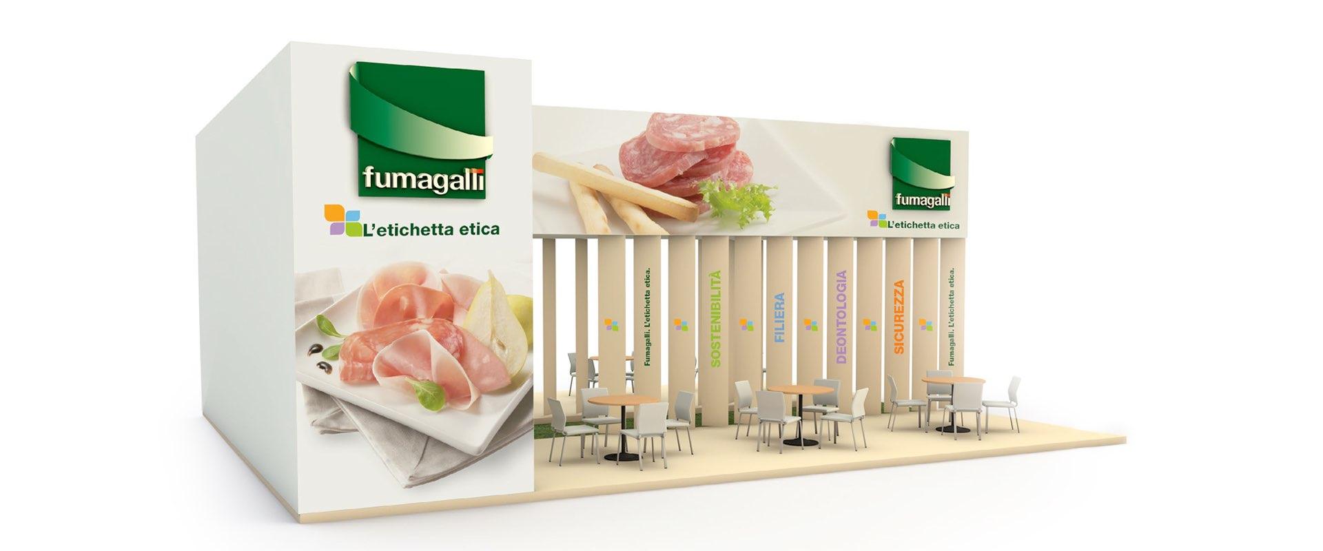 design e allestimento stand fiere CIBUS etichetta etica Fumagalli industria alimentari